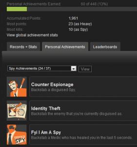 Spy achievements